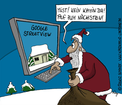 Karikatur, Cartoon: Google Street View, © Roger Schmidt