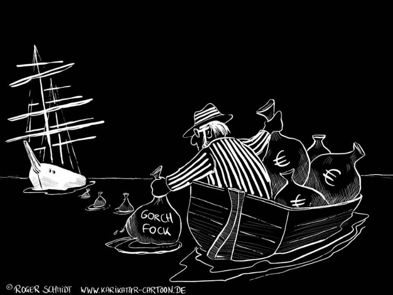 Karikatur, Cartoon: Gorch Fock, © Roger Schmidt