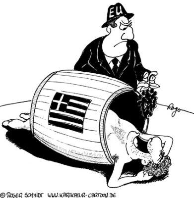 Karikatur, Cartoon: Grieschenland, Grichenland, Grischenland oder Krieschenland?, © Roger Schmidt
