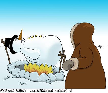 Karikatur, Cartoon: Grillen mit Gasgrill, © Roger Schmidt