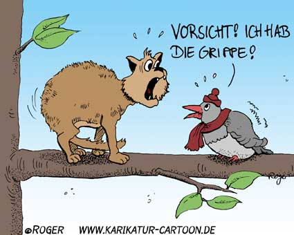Karikatur, Cartoon: Grippe, © Roger Schmidt