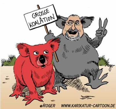 Karikatur, Cartoon: Große Koaliton, © Roger Schmidt