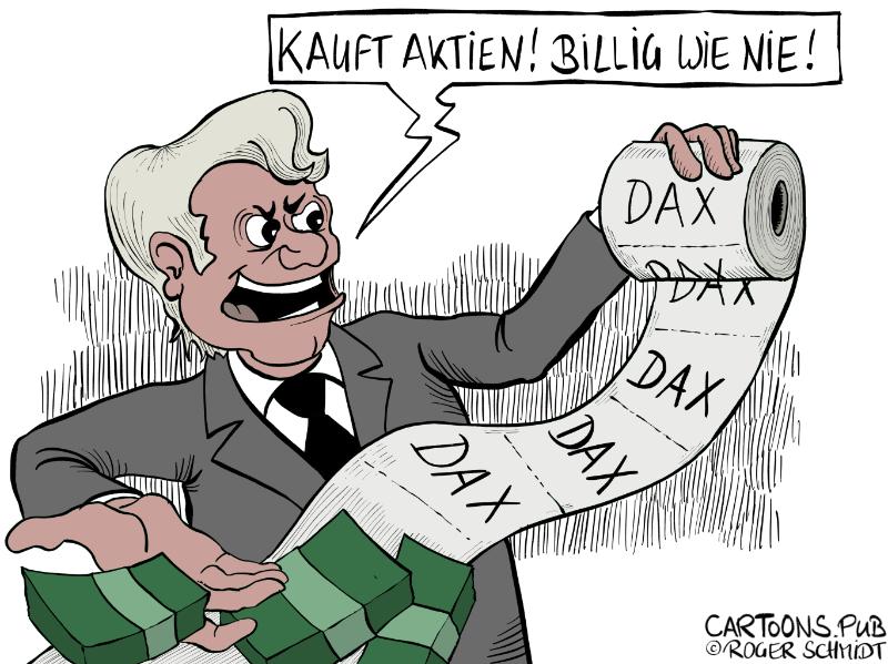 Karikatur, Cartoon: Günstig Aktien kaufen und handeln © Roger Schmidt