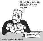 Karikatur, Cartoon: Die Englischkenntnisse des Guido Westerwelle, © Roger Schmidt