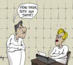 Karikatur, Cartoon: Gummizelle im Irrenhaus, © Roger Schmidt