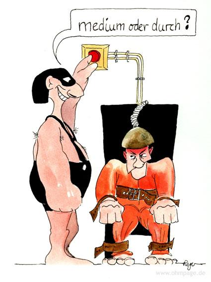Karikatur, Cartoon: Der elektrische Stuhl, © Roger Schmidt