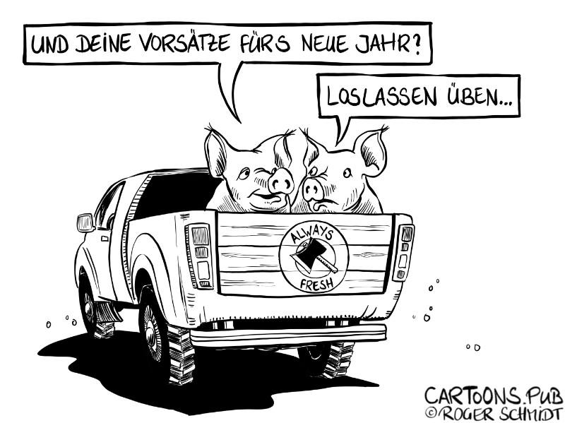Karikatur, Cartoon: Gute Vorsätze fürs Neue Jahr © Roger Schmidt