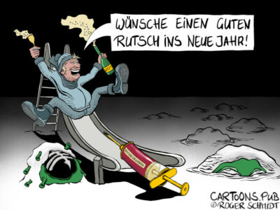 Karikatur, Cartoon: Guten Rutsch 2021 © Roger Schmidt