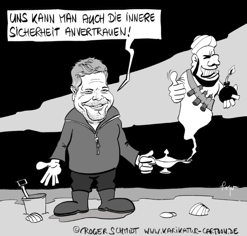 Karikatur, Cartoon: Habeck und die innere Sicherheit, © Roger Schmidt