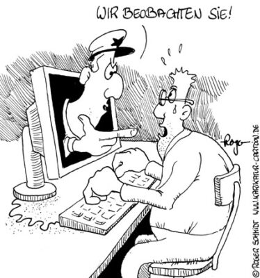 Karikatur, Cartoon: Hacker, © Roger Schmidt