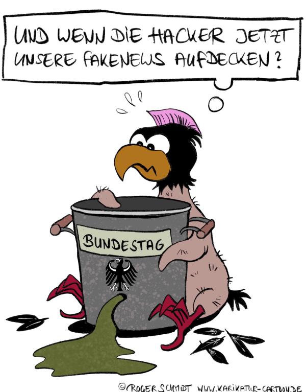 Karikatur, Cartoon: Hacker beklaut Bundestag, © Roger Schmidt