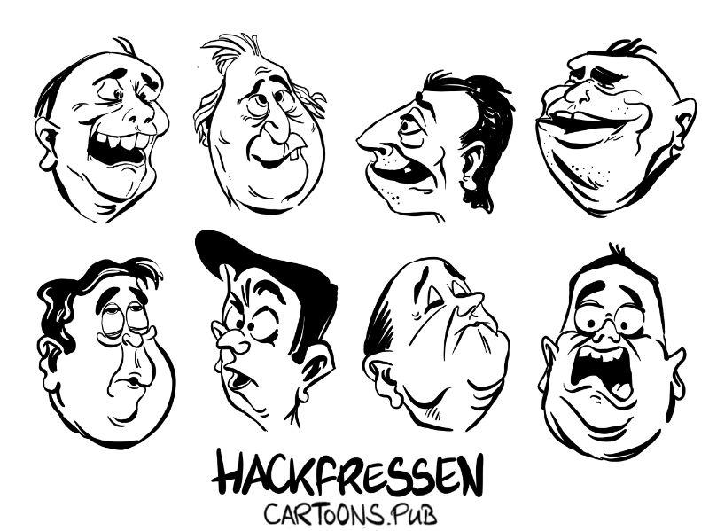 Karikatur, Cartoon: Hackfressen Teil 1 © Roger Schmidt