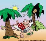 Karikatur, Cartoon: Hängematte, © Roger Schmidt