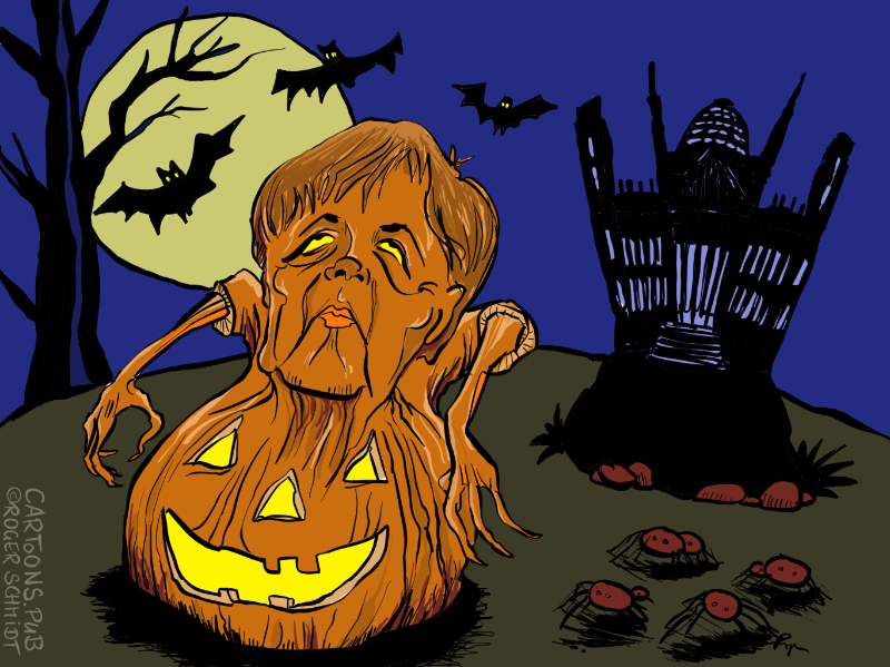 Karikatur, Cartoon: Halloween aus Berlin © Roger Schmidt
