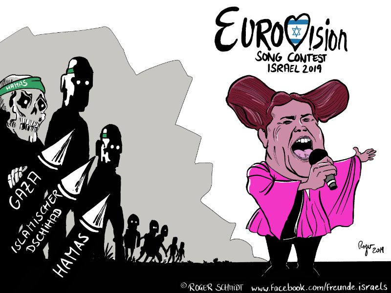 Karikatur, Cartoon: Hamas attackiert Eurovision Song Contest 2019 in Israel, © Roger Schmidt
