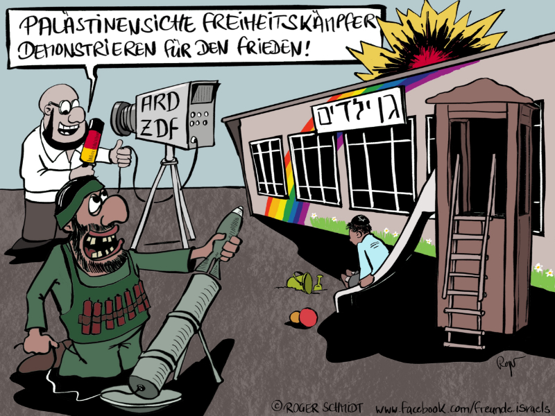 Karikatur, Cartoon: Hamas-Raketen gegen Kinder, Frauen, Greise,..., © Roger Schmidt
