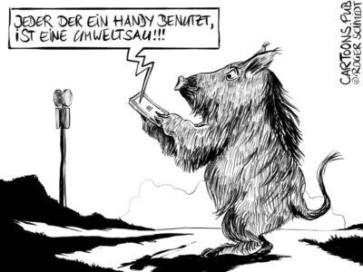 Karikatur, Cartoon: Handy-Nutzer als Umweltsau © Roger Schmidt