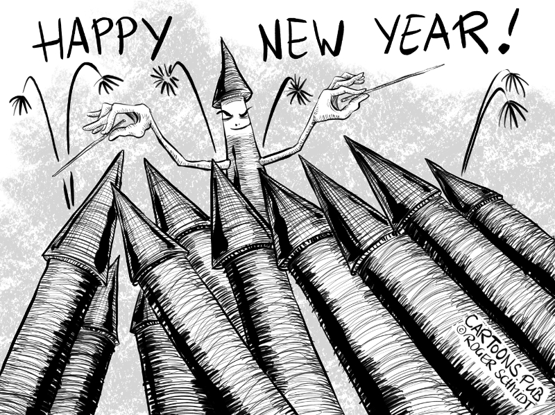 Karikatur, Cartoon: Happy New Year 2020 © Roger Schmidt