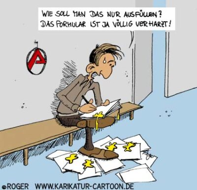Karikatur, Cartoon: Hartz 4, © Roger Schmidt