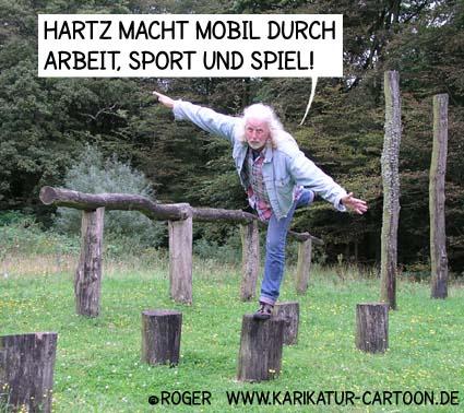 Karikatur, Cartoon: Sport dank Hartz4, © Roger Schmidt