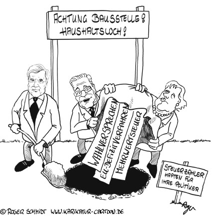 Karikatur, Cartoon: Haushaltsloch 2009, © Roger Schmidt