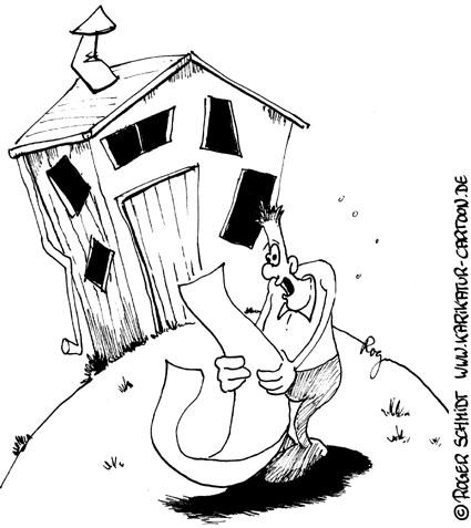 Karikatur, Cartoon: Hauskauf nach Checkliste, © Roger Schmidt