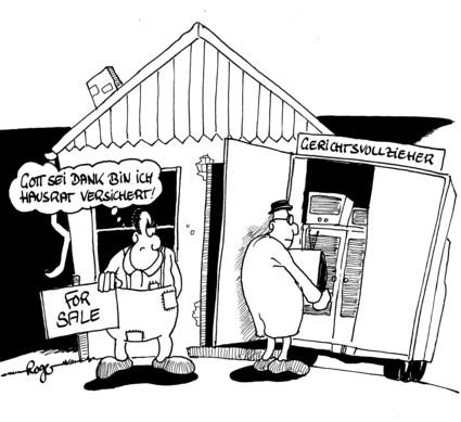 Karikatur, Cartoon: Hausratversicherung - Leistungen im Vergleich, © Roger Schmidt