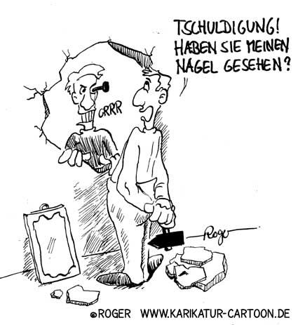 Karikatur, Cartoon: Näglein an der Wand, © Roger Schmidt