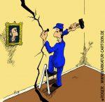 Karikatur, Cartoon: Heimwerker im Haus, © Roger Schmidt