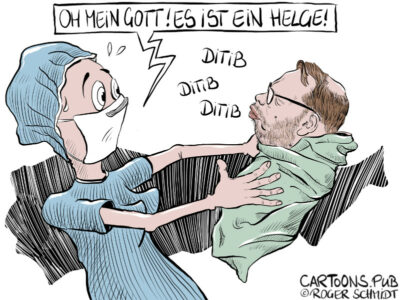 Karikatur, Cartoon: Helge Lindh © Roger Schmidt