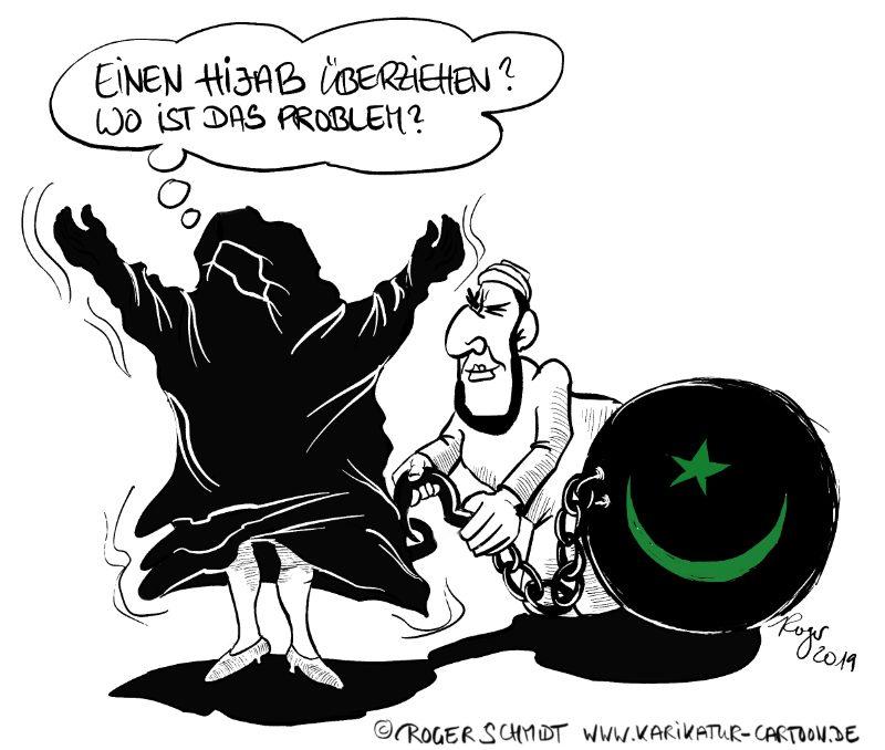 Karikatur, Cartoon: Kopftuch und Hijab, © Roger Schmidt