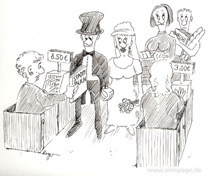 Karikatur, Cartoon: Hochzeit beim Discounter, © Roger Schmidt