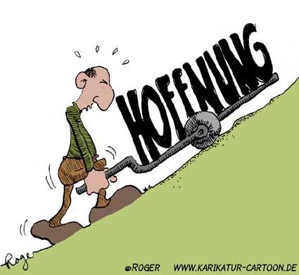 Karikatur, Cartoon: Hoffnung, © Roger Schmidt