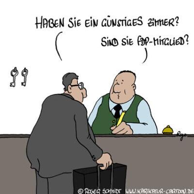 Karikatur, Cartoon: Hotel-Steuer bringt FDP in Erklärungsnot, © Roger Schmidt