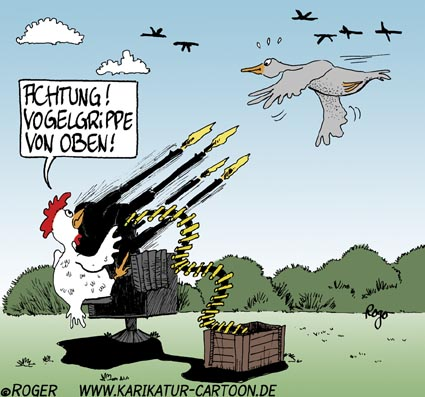 Karikatur, Cartoon: Huhn, © Roger Schmidt