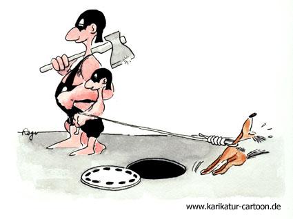 Karikatur, Cartoon: Der Hund, © Roger Schmidt