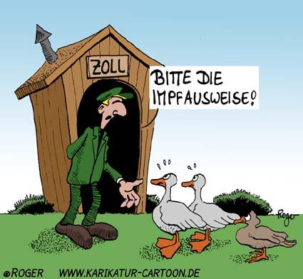Karikatur, Cartoon: Impfausweis, © Roger Schmidt