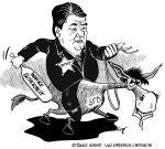 Karikatur, Cartoon: Sigmar Gabriel und die innere Sicherheit, © Roger Schmidt