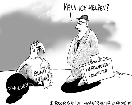 Karikatur, Cartoon: Insolvenzverwalter, © Roger Schmidt