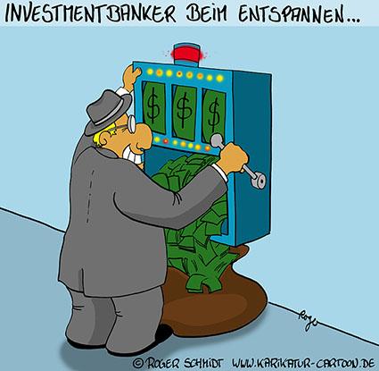 Karikatur, Cartoon: Investmentbanker beim Entspannen, © Roger Schmidt