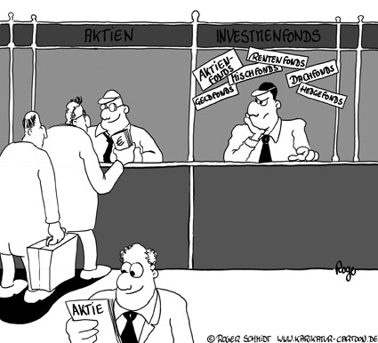 Karikatur, Cartoon: Investmentfonds im Vergleich zu Aktien, © Roger Schmidt