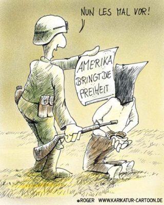 Karikatur, Cartoon: Irak, Amerika und die Freiheit, © Roger Schmidt