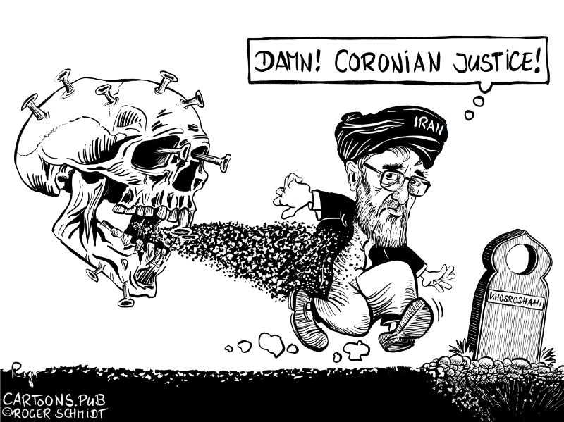 Karikatur, Cartoon: Die Rache des Corona Virus © Roger Schmidt