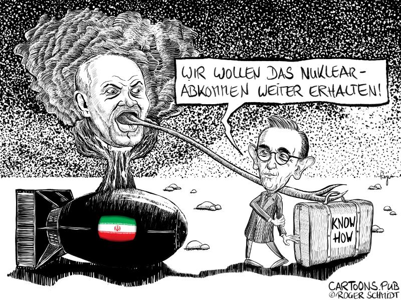 Karikatur, Cartoon: Nuklearabkommen mit Iran Maas Sarif © Roger Schmidt