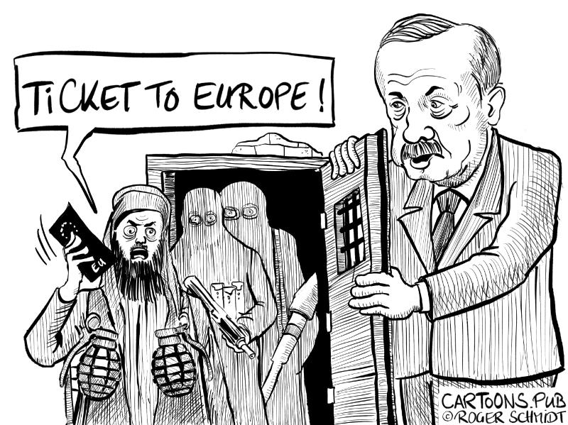 Karikatur, Cartoon: IS-Rückkehrer nach Europa © Roger Schmidt