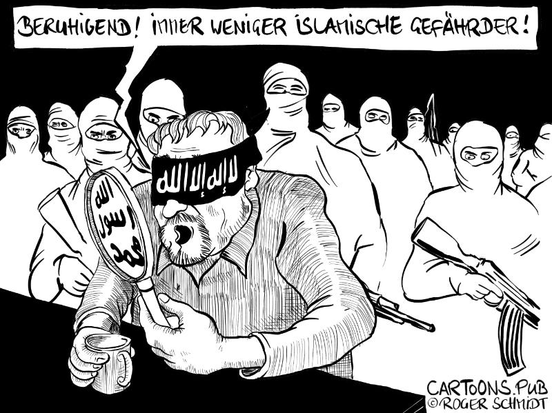 Karikatur, Cartoon: Anzahl islamischer Gefährder sinkt © Roger Schmidt