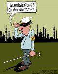 Karikatur, Cartoon: Die Islamisierung Deutschlands, © Roger Schmidt