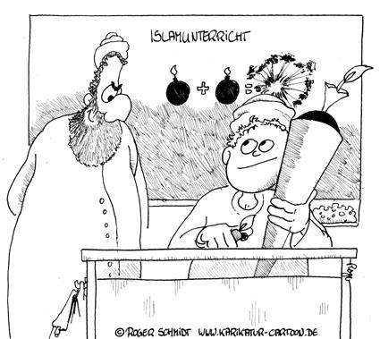 Karikatur, Cartoon: Islamunterricht, © Roger Schmidt