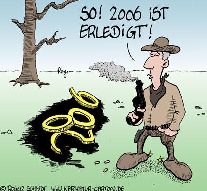 Karikatur, Cartoon: Jahreswechsel, © Roger Schmidt