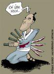 Karikatur, Cartoon: Japanischer Schwertkampf, © Roger Schmidt